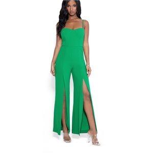 Bebe Open Leg Scuba Jumpsuit Green
